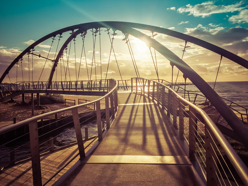 Beautiful Footbridge At Sunset In Frankston Foreshore, Melbourne, Australia